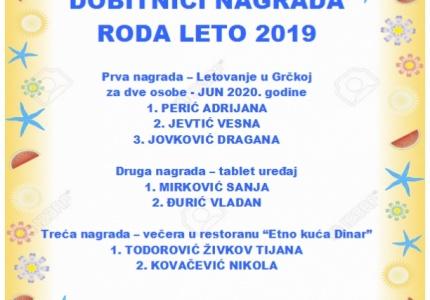 RODA LETO 2019. - NAGRADNO IZVLAČENJE